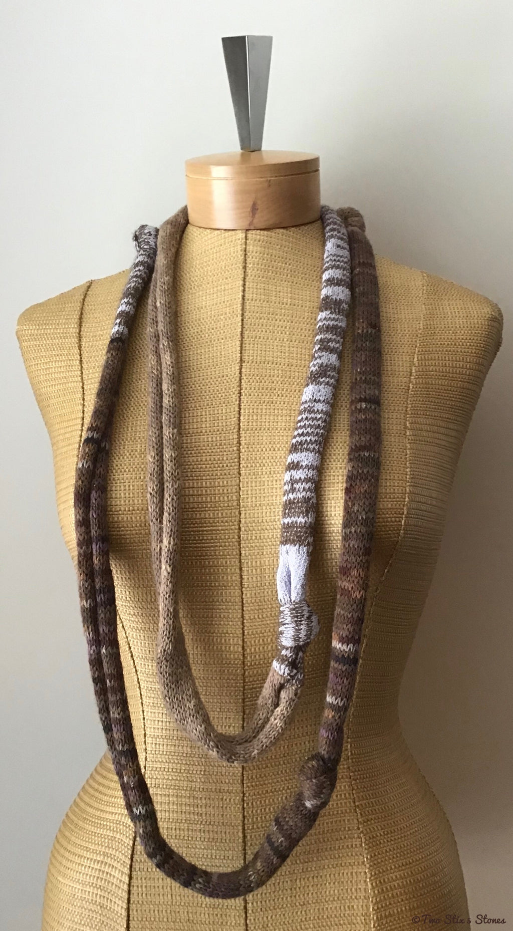 Brown & Lavender Tweed Knotted Scarf