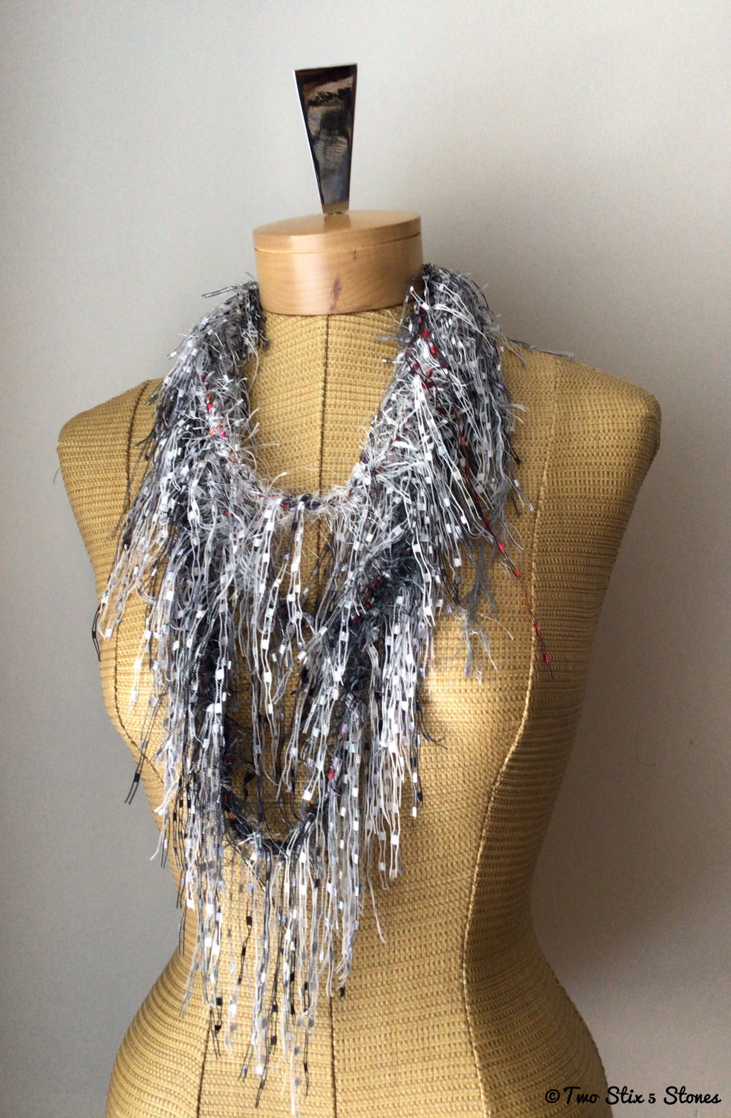 Luxe Grey & Black Exotic Fiber Necklace