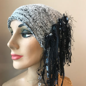 Grey & Black Tweed, *Funky Chic Hat*, (FH44)