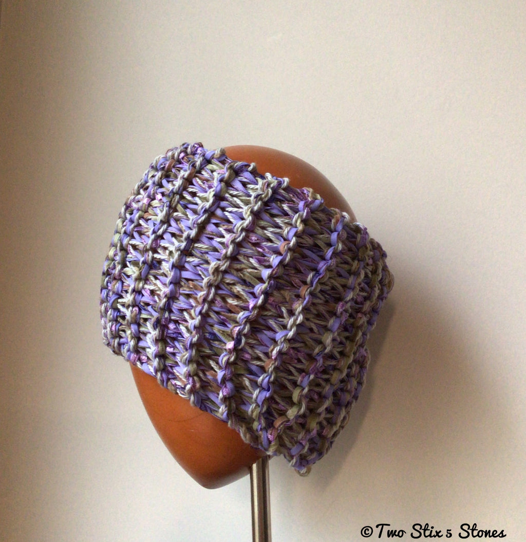 Lavender & Green Tweed Knit Headband
