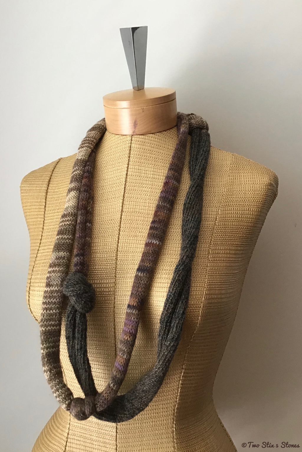 Brown Tweed Knotted Scarf