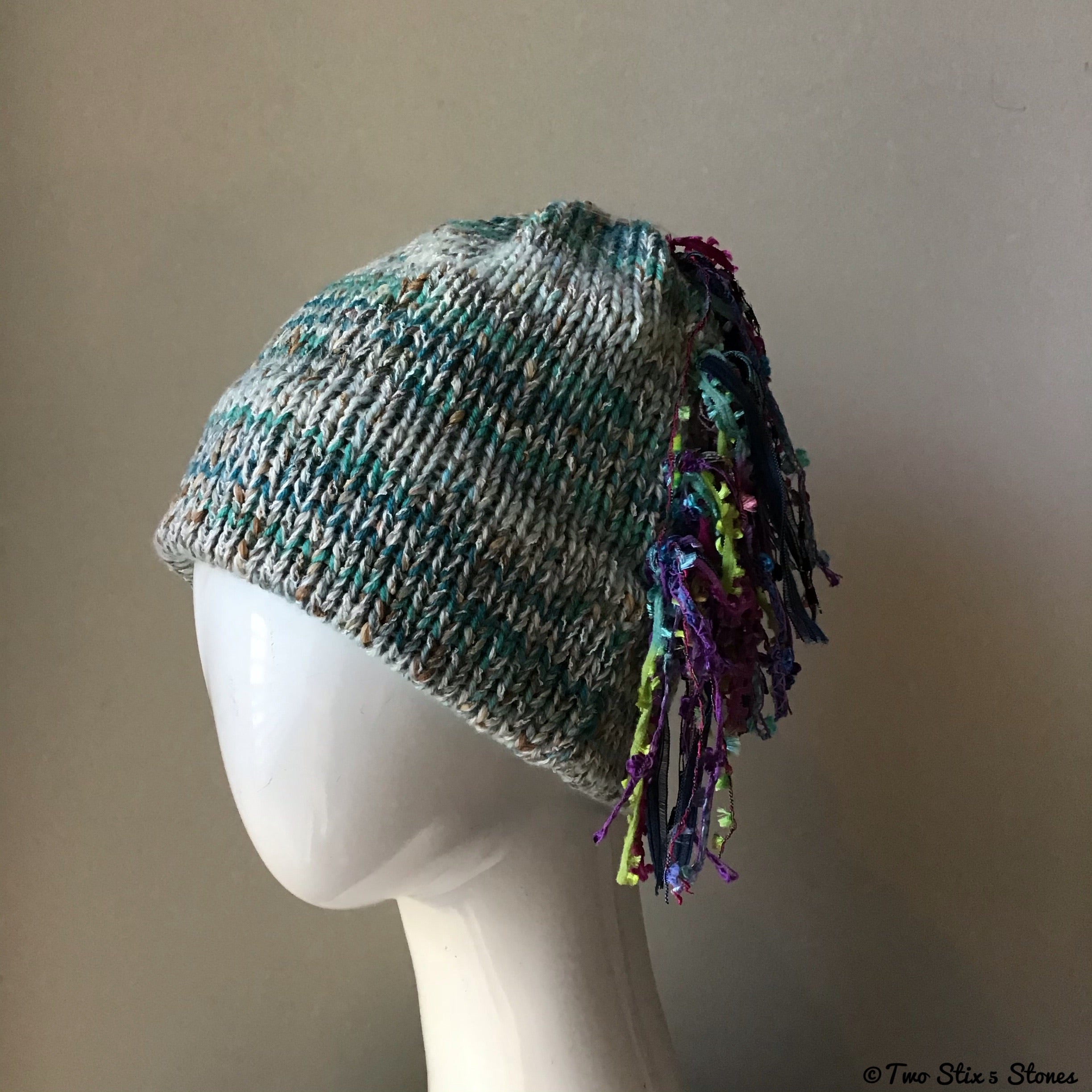 Pale Blue & Turquise Tweed Signature *Funky Chic* Hat