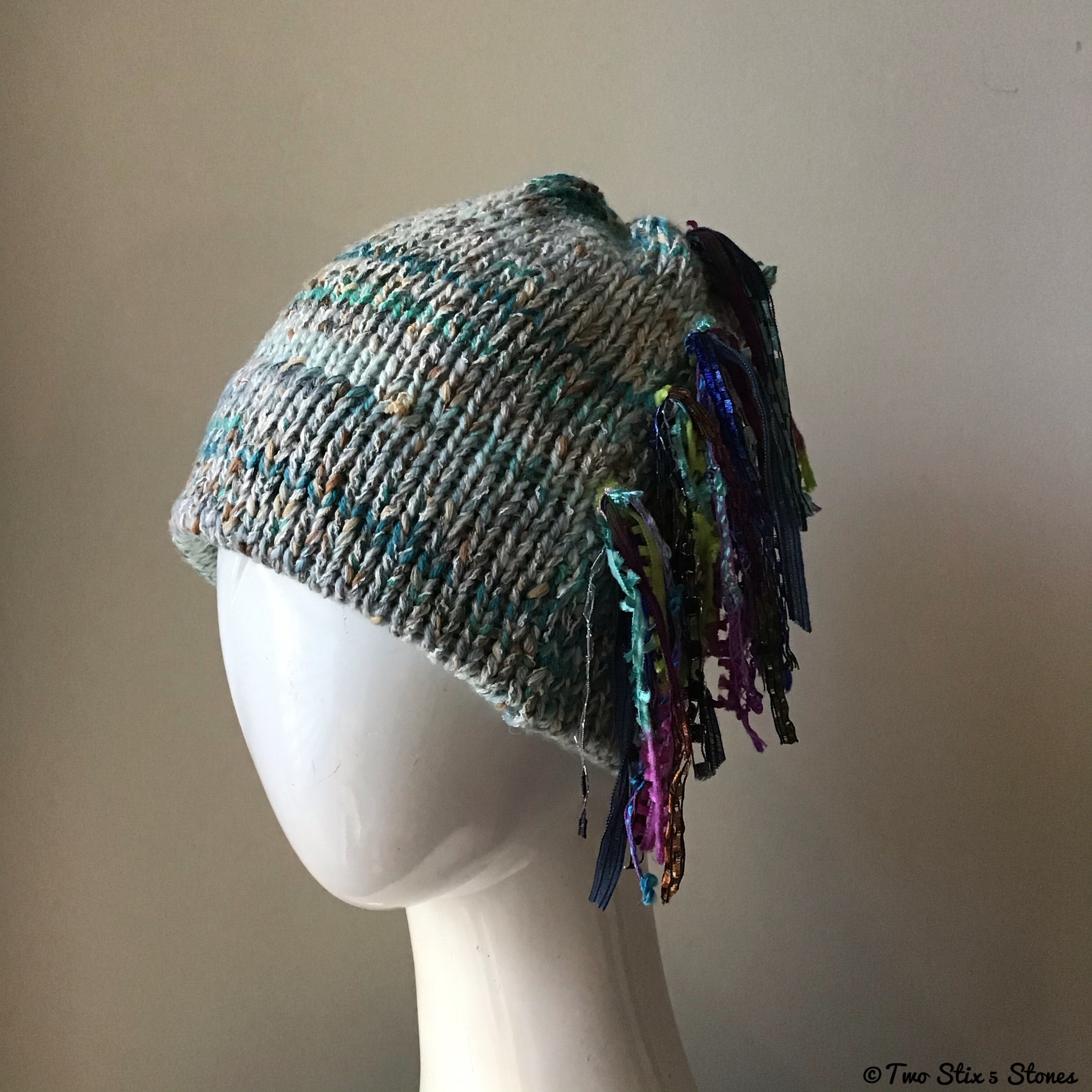 Pale Blue & Turquoise Tweed Signature *Funky Chic* Hat