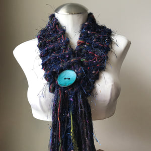 Navy Blue Tweed *Diva Chic* Scarf, (DS14)
