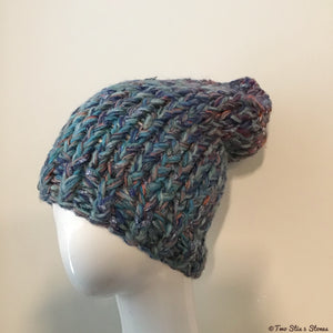 Blue Tweed Thick Slouchy Hat