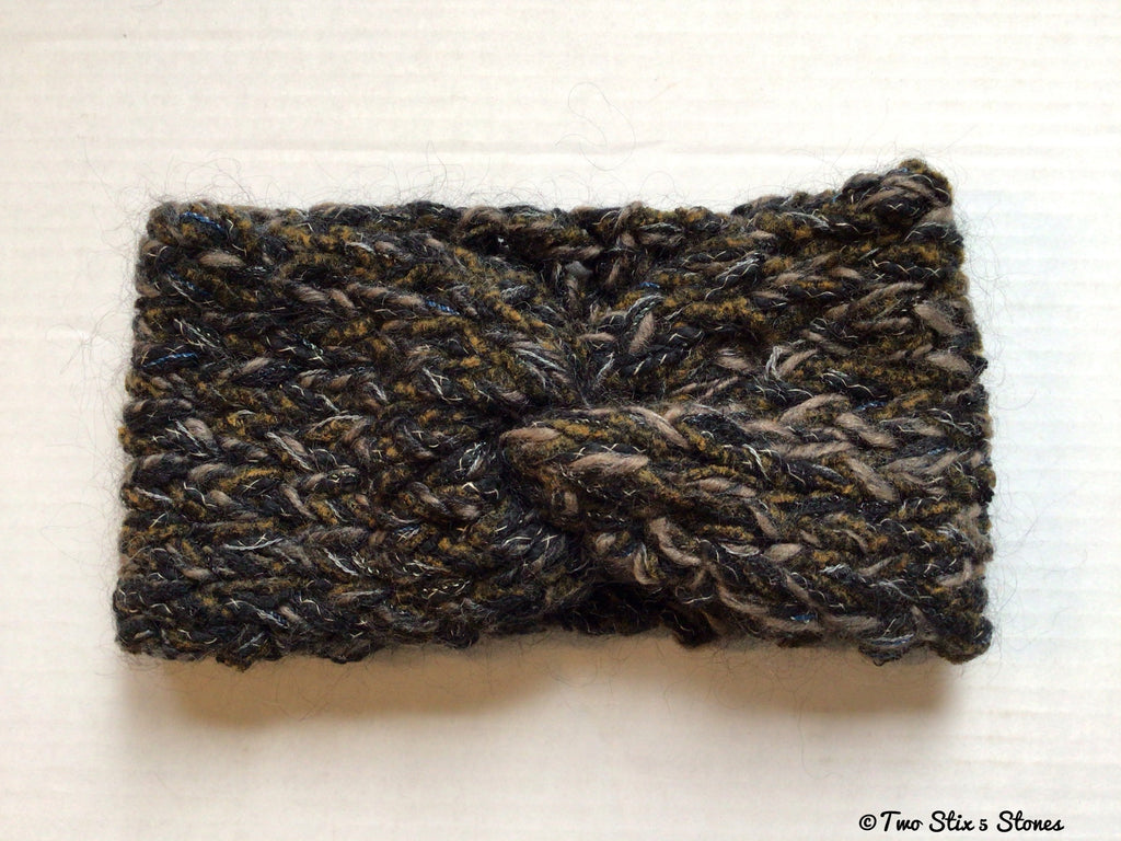 Black & Tweed Knit Turban Headband