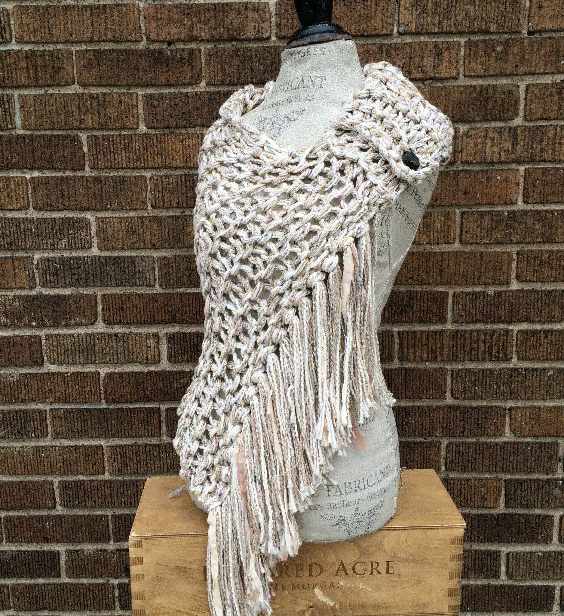 Luxe Oatmeal Tweed Shawl w/Fringe