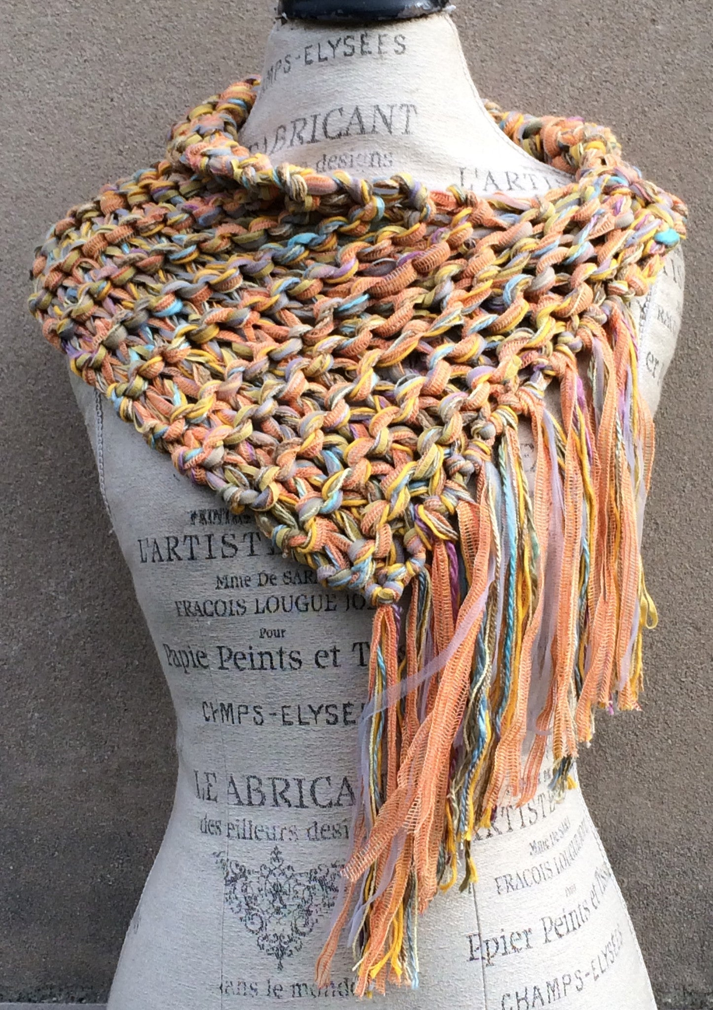 Orange Tweed Cowl Shawl w/Fringe