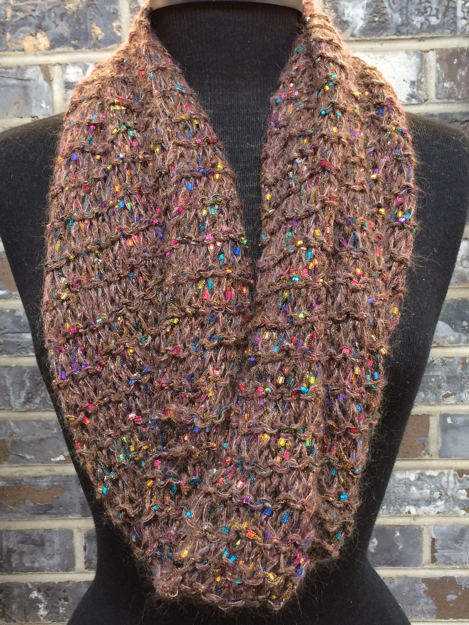 Brown Tweed Mosaic Fiber Art Scarf