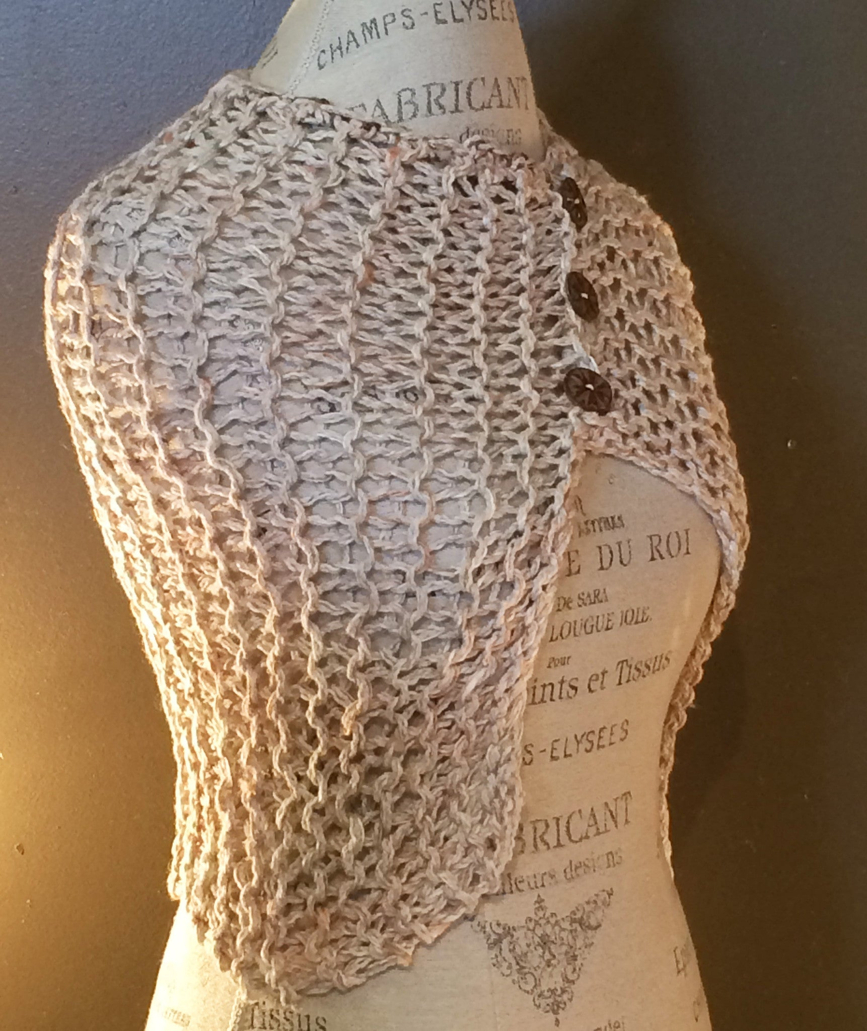 Beige Tweed, Asymmetrical Shawl
