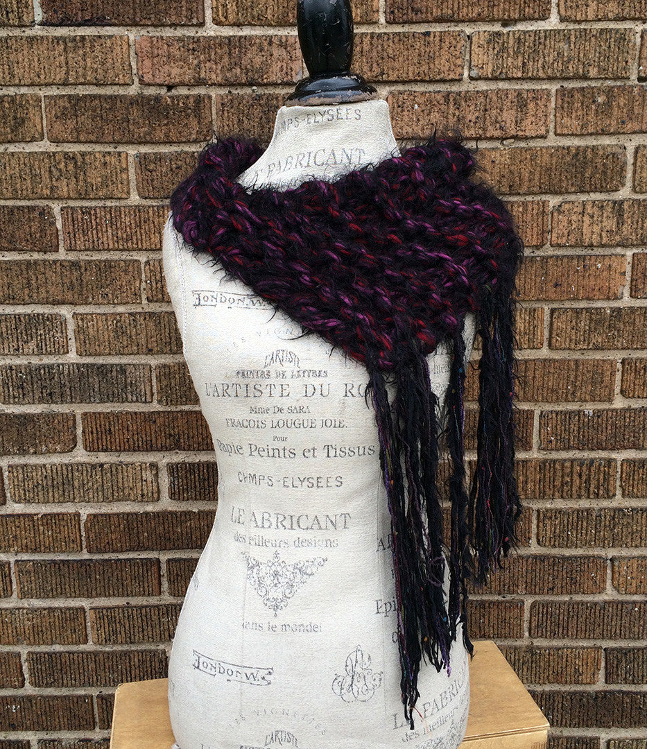 Mohair Blend Luxurious Wine and Black Fringed Shawl