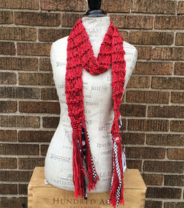 Red Scarf w/Funky Fringe