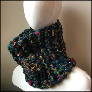 Dark Turquoise Tweed Cowl/Neckwarmer