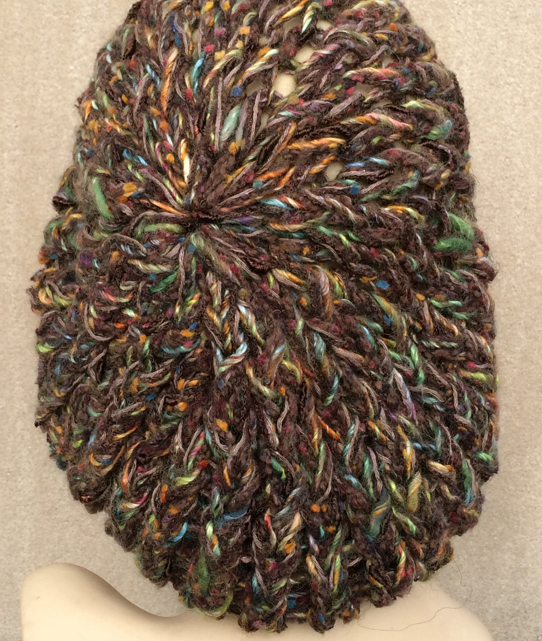 Brown Tweed Slouchy Tam Hat