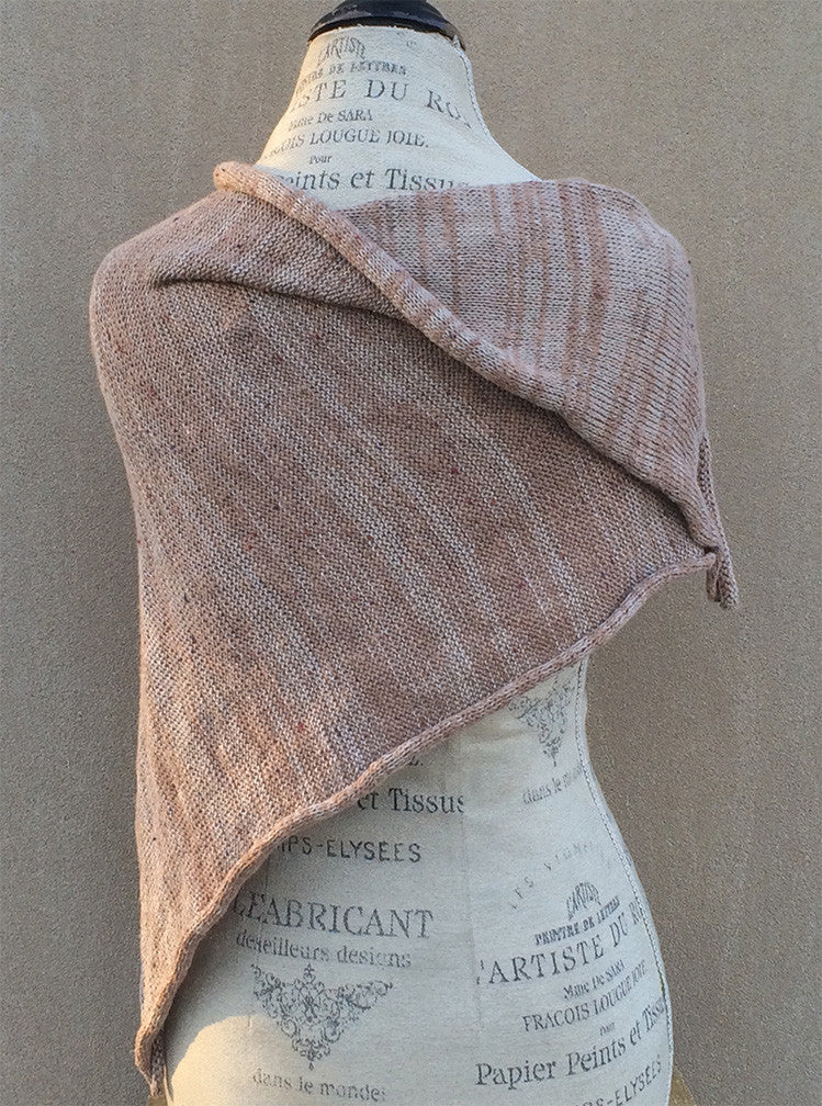 Tan Tweed Fine Knit Shawl w/Ceramic Button