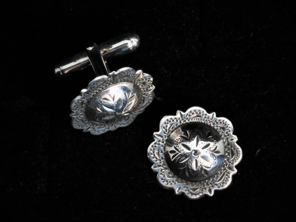 Vintage Large Concho Cuff Links