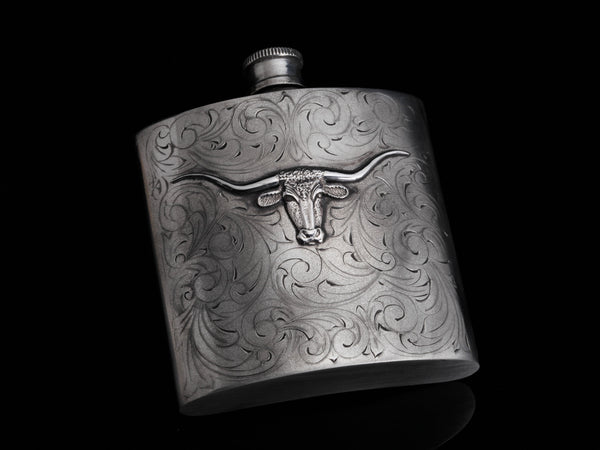 Carved Longhorn Flask-Gifts-Comstock Heritage, Inc.-Comstock Heritage, Inc.
