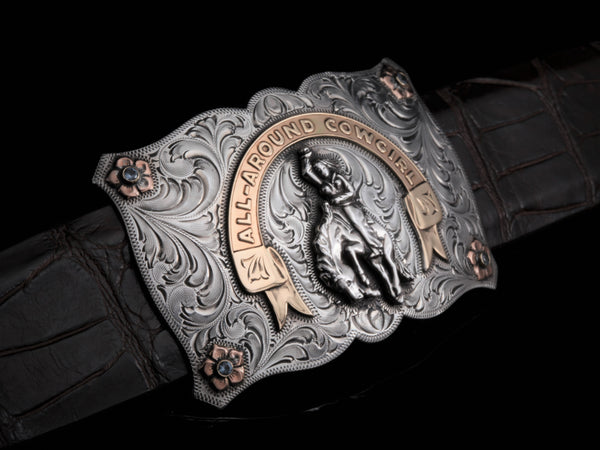 "All Around Cowgirl-Belt Buckles-Comstock Heritage, Inc.-1.5""-Choose A Belt-+2 to pant size-Comstock Heritage, Inc."