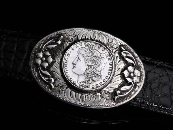"Sutro Morgan Dollar with Flowers-Belt Buckles-Comstock Heritage, Inc.-1.5""-Choose A Belt-+2 to pant size-Comstock Heritage, Inc."