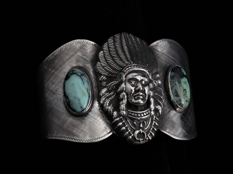 Ute Chieftan Cuff, Two Ways-Bracelets-Comstock Heritage, Inc.-Tsavorite Garnets and White Diamond Eyes-Comstock Heritage, Inc.