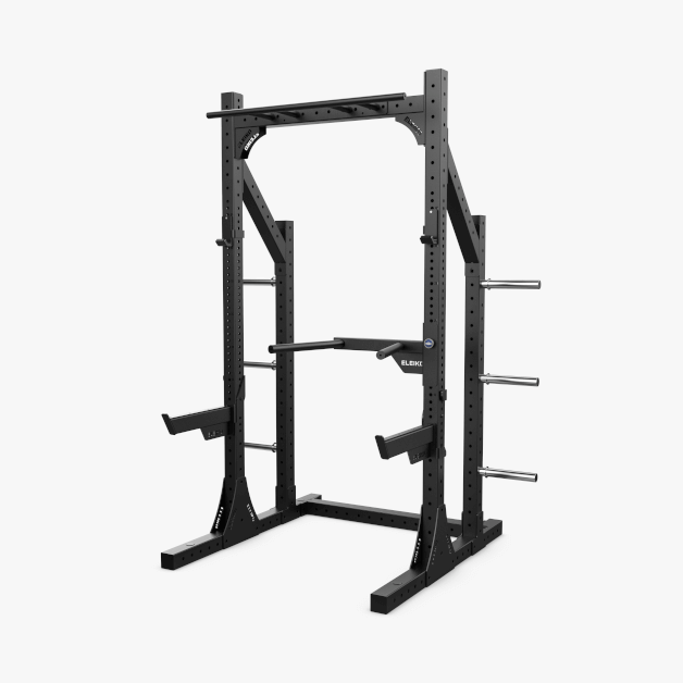 XF 80 Half Rack Hybrid, J-Cups, Safety Arms, Dips, Pull-Up - BLACK