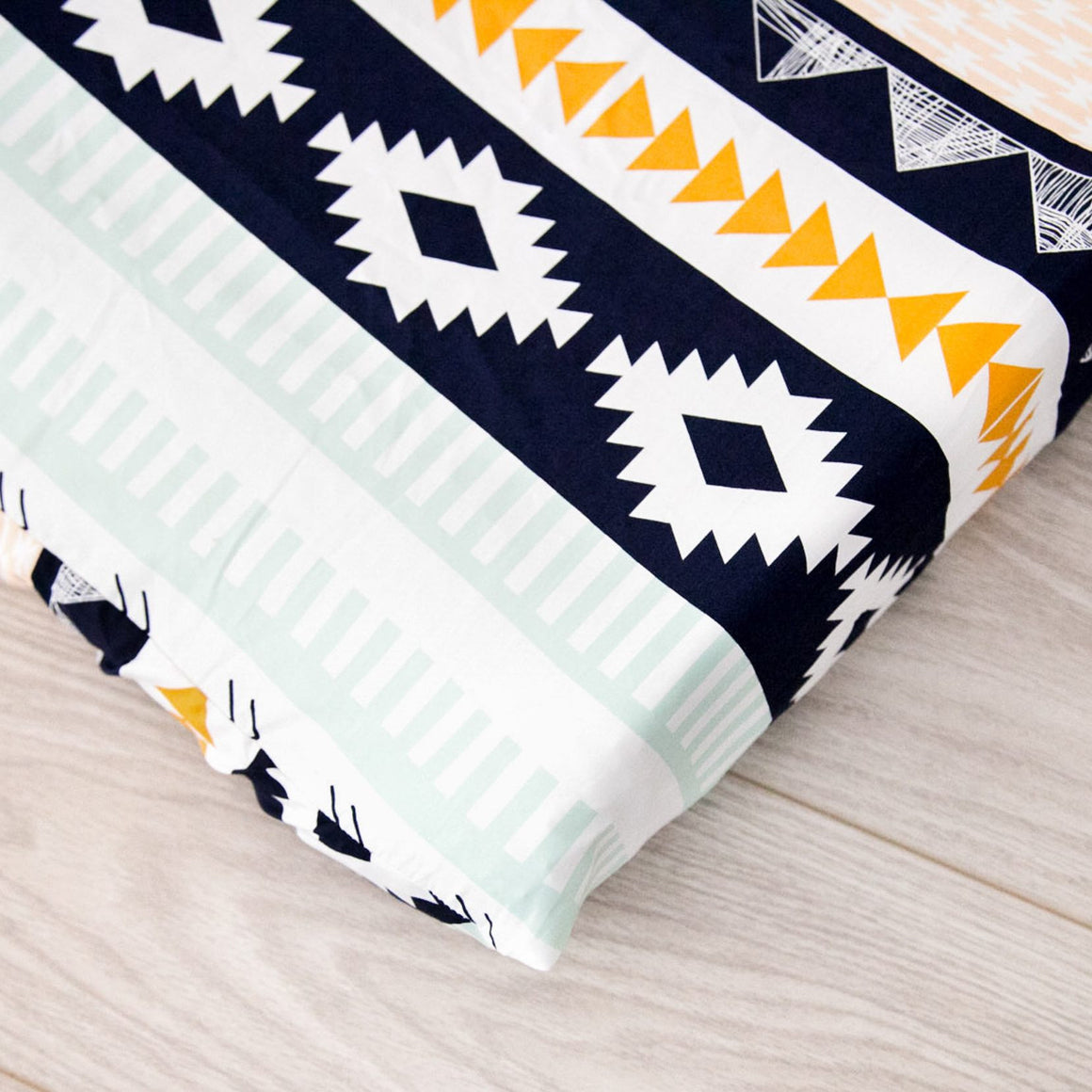 Changing Pad Cover - Tribal Nursery in Navy and Gold