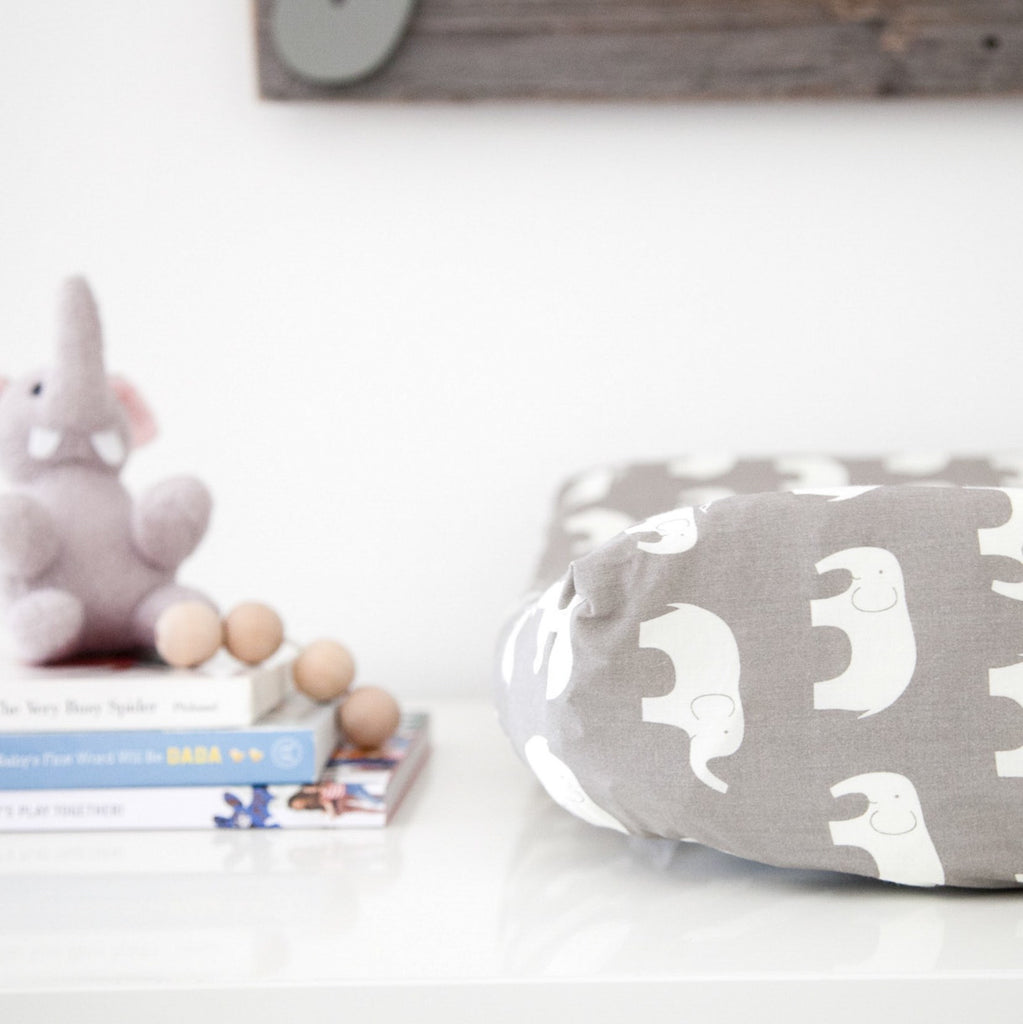 Organic Changing Pad Cover - Gray and White Elephants