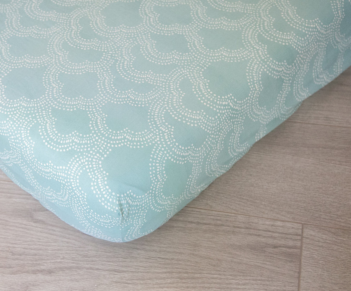 Organic Fitted Crib Sheet, Organic Baby Bedding, GOTS Certified, Mint Clouds