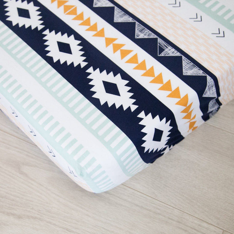Fitted Crib Sheet - Navy and Gold Tribal Nursery