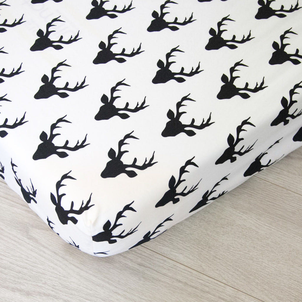 Fitted Crib Sheet - Black and White Deer