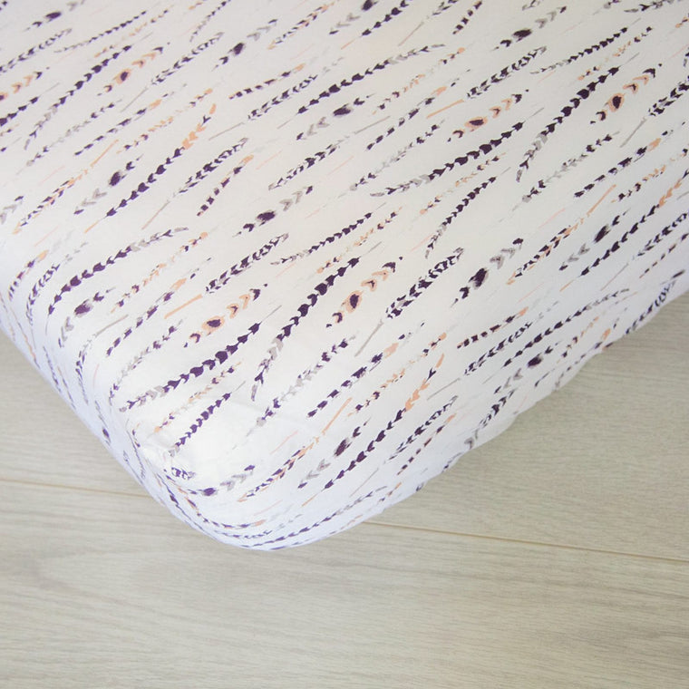 Fitted Crib Sheet - Metallic Feathers