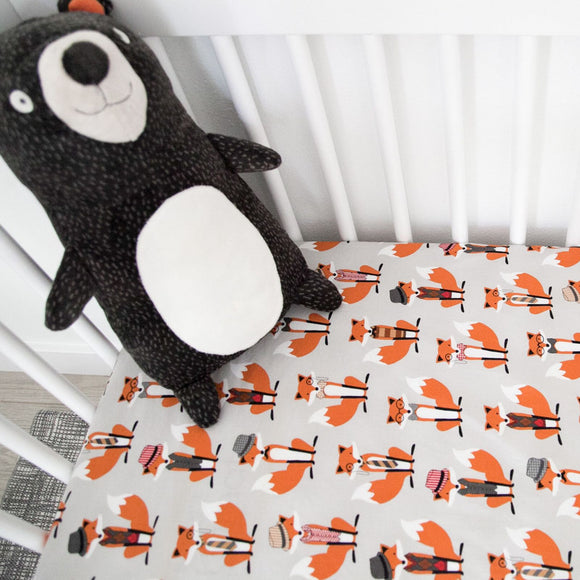 Fitted Crib Sheet - Gray and Orange Foxes