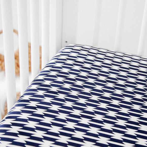Fitted Crib Sheet - Navy and White Stripes