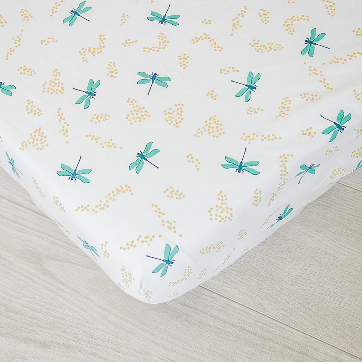 Organic Fitted Crib Sheet - Dragonflies