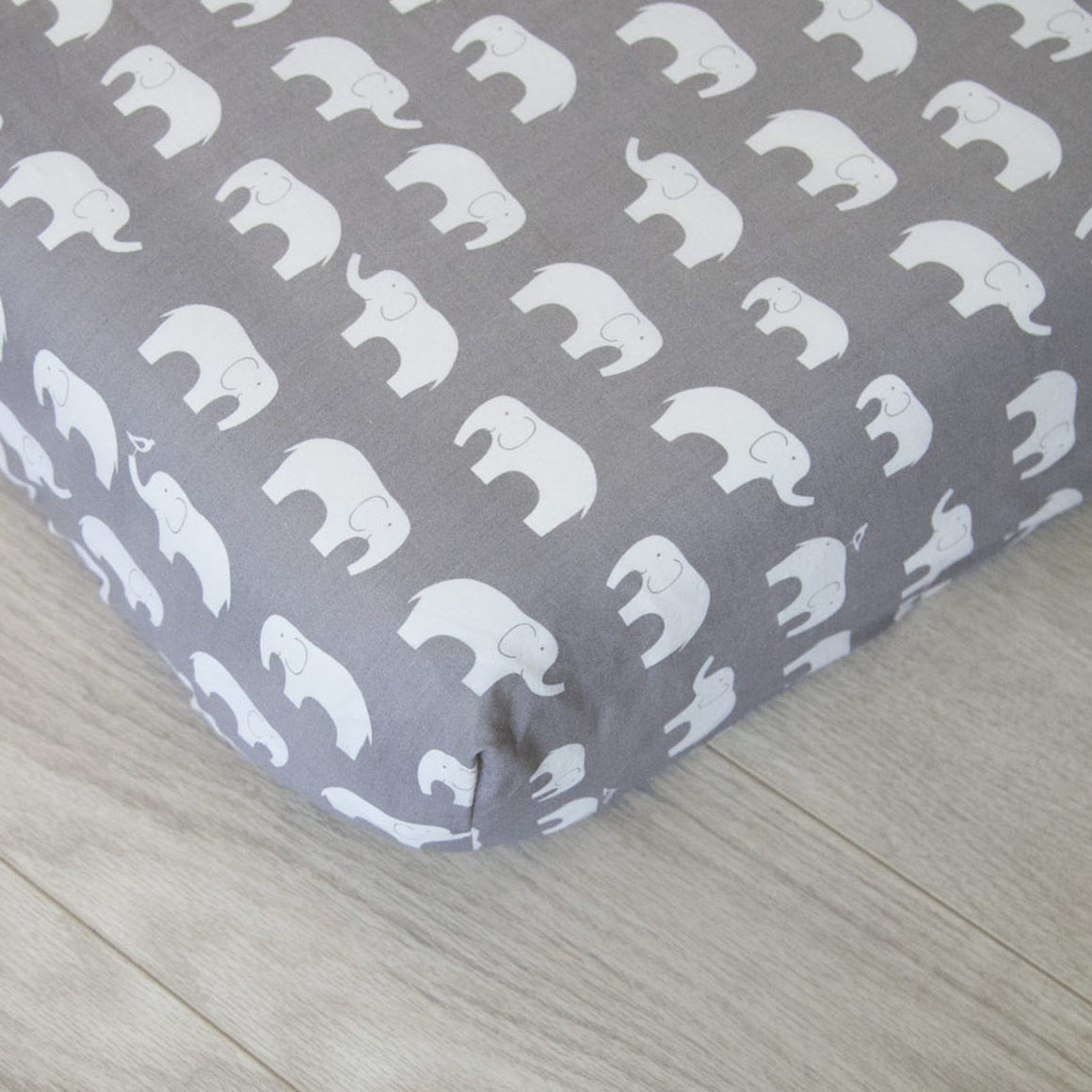 Organic Fitted Crib Sheet - Gray Elephants