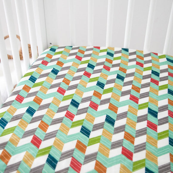 Organic Fitted Crib Sheet - Multicolor Chevrons