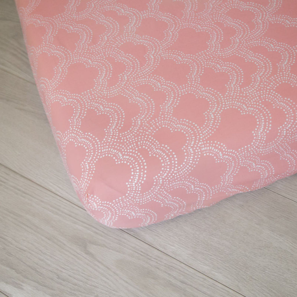 Organic Fitted Crib Sheet - Pink Clouds