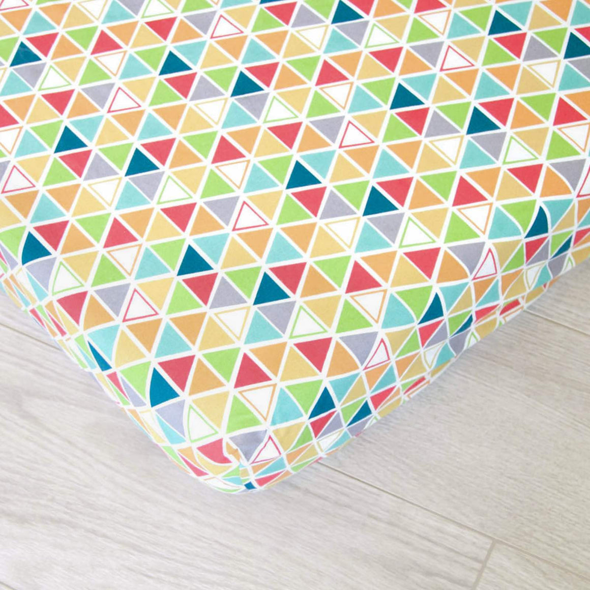 Organic Fitted Crib Sheet, Organic Baby Bedding, GOTS Certified, Colorful Triangles