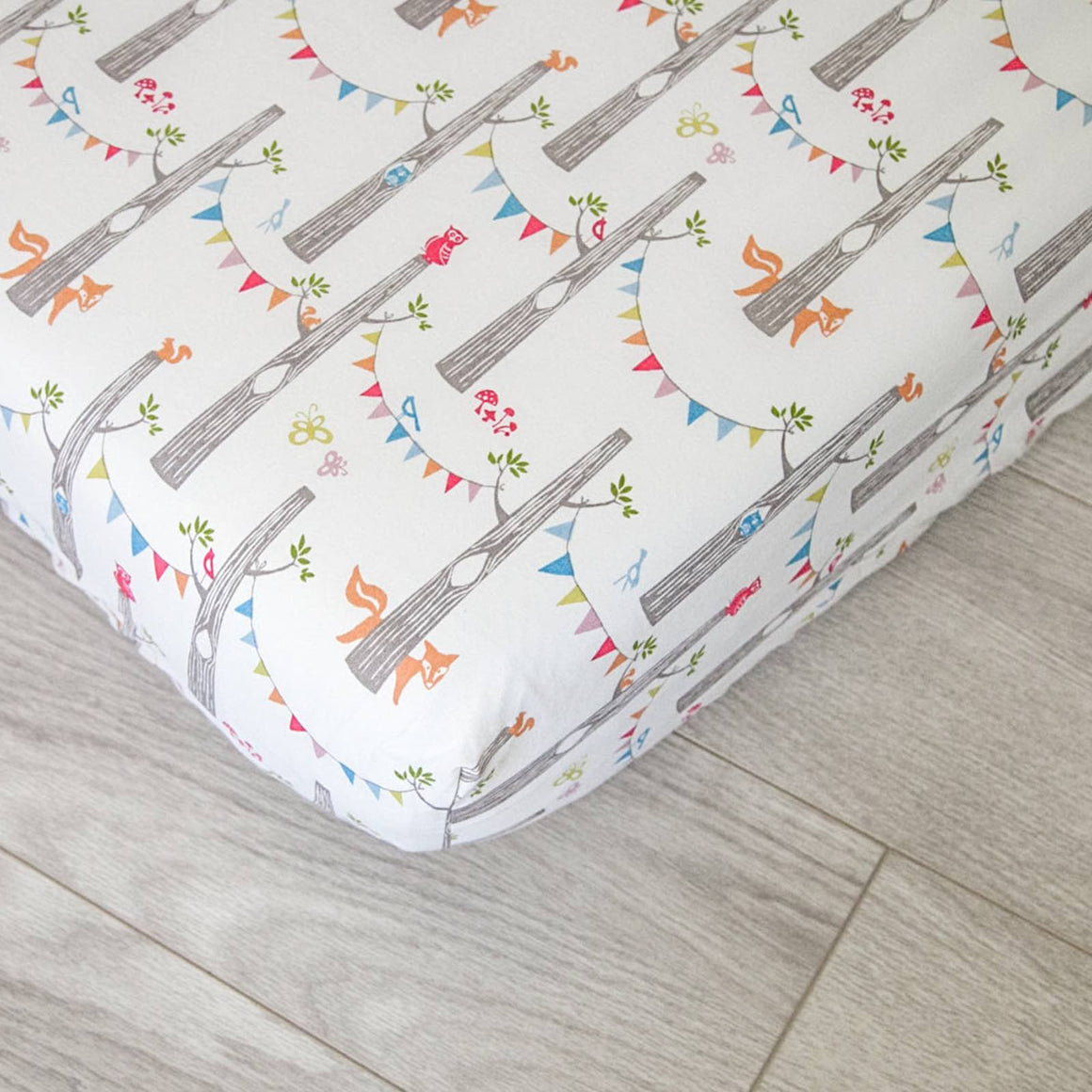 Organic Fitted Crib Sheet - Woodland Party