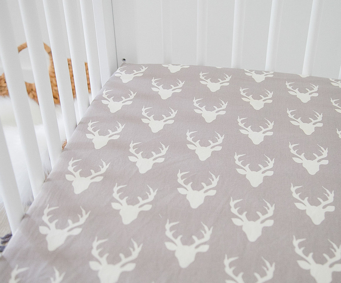 Fitted Crib Sheet - Gray Deer