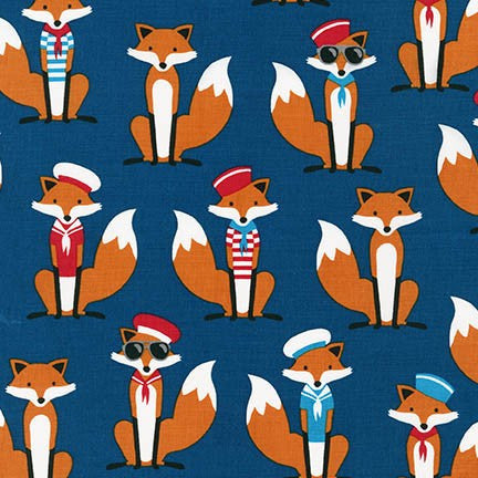 Changing Pad Cover - Navy and Orange Foxes