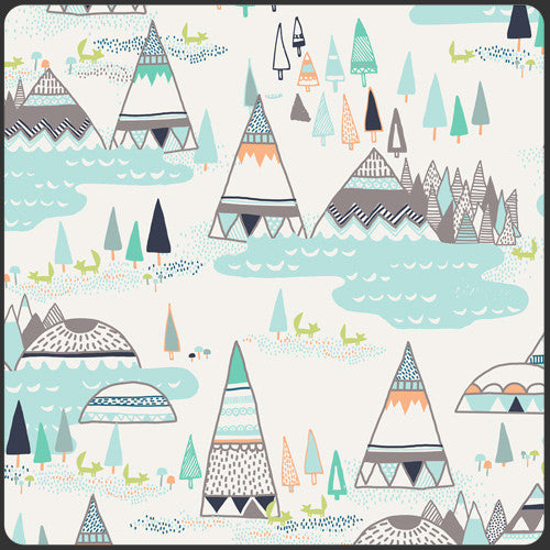 Fitted Crib Sheet - Aqua and Gray Teepees