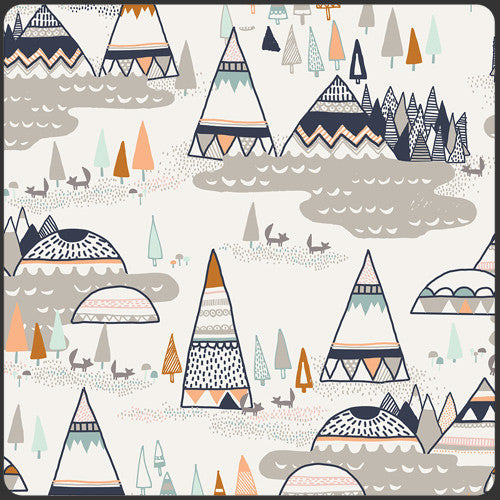 Fitted Crib Sheet - Teepees in Brown