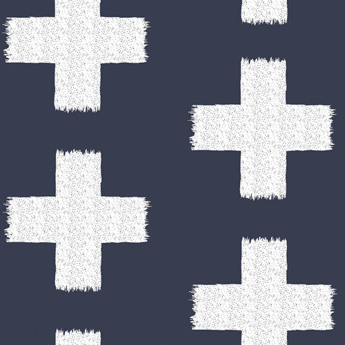 Fitted Crib Sheet - Navy and White Crosses