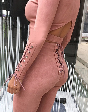 Lace Up Suede Set - Khaki & Pink
