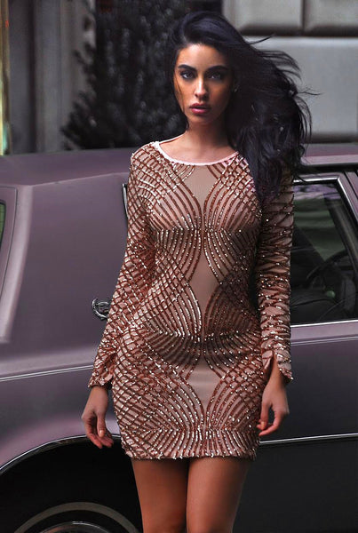 Beige Sequin Detail Sheer Mesh Backless Dress - Awesome World - Online Store  - 2