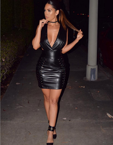 Latex Leather Inspired Lace Up Dress - Awesome World - Online Store  - 2