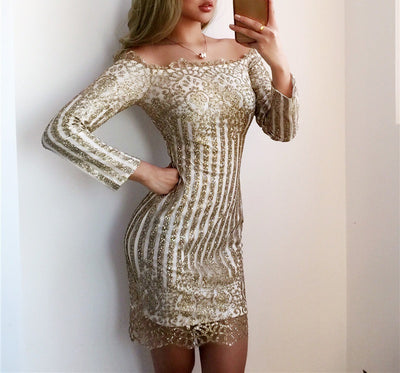 Malibu Off Shoulder Dress - Black & Gold - Awesome World - Online Store  - 3