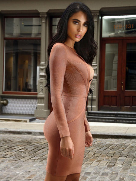 Coffee Bandage Dress with Keyhole Cutout - Awesome World - Online Store  - 2