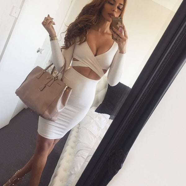 Two Pieces Long Sleeves Bodycon Set - Awesome World - Online Store  - 1